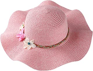 Summer Wavy Brim Floopy Straw Hat Pretty Flower Accent Band with Chin Strap