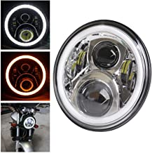 HOZAN 7inch Chrome LED Motorcycle Headlamp with W/Y Halo Ring for Harley Street Glide Road King Fatboy Electra Glide Indian Chieftain Road Master