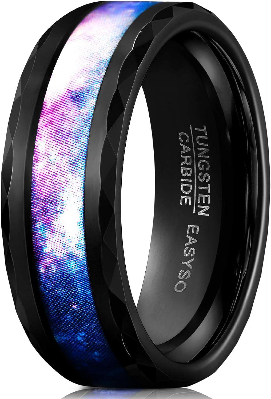 EASYSO 8MM Tungsten Carbide Wedding Band Ring for Men Matte Finish Brushedz Laser Horizontal Grain Black Rose Gold Size 7-11