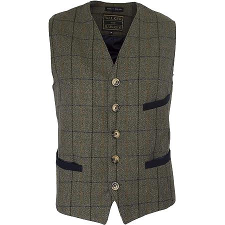 Walker & Hawkes - Mens Tweed Waistcoat Formal Teflon Dress Gilet - Navy Stripe - X-Small