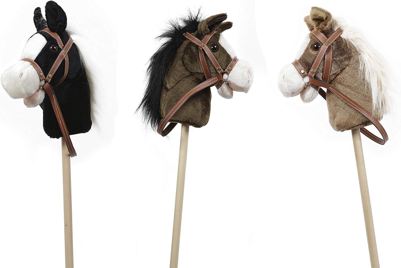 GERILEO Steckenpferd Spielzeug mit Sound Dunkelbraun Pl/üschpferd Verschiedene tolle Farben