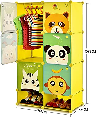 OMTONGXIN Wardrobe Cute Children's Wardrobe Portable Wardrobe Closet Cube Storage Armoire Bedroom Dresser Pantry Cabinet