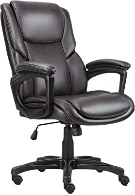 Komene Executive Office Chair,Leather Ergonomic Home Office Desk Chair Swivel Mid Back Desk Chair with Thick Padded Backrest Armrest, Adjustable Height Armchair, 360 Rolling Casters