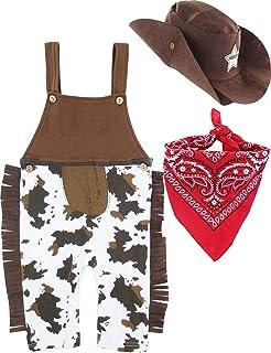 MOMBEBE COSLAND Baby Jungen Western Cowboy Kostüme Fasching Strampler Set