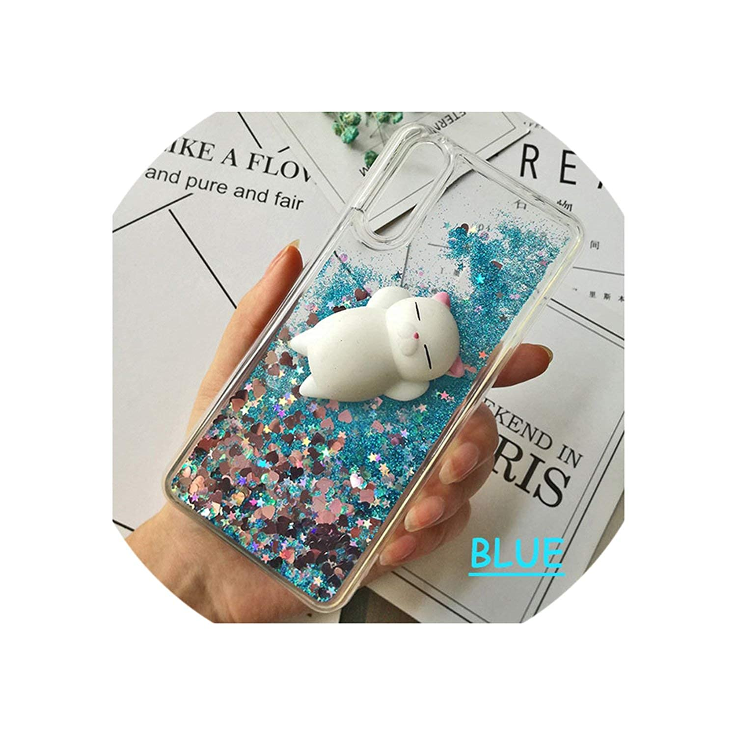 Cute 3D Squishy Cat Case for Huawei P20 pro P8 P9 lite P10 Plus Liquid Glitter Phone Case Mate 9 Y5 GR5 2017 Y6 II Y9 2018 Cover,Quiksand Blue,for Huawei P20