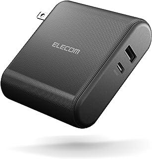 エレコム AC充電器 USB充電器 (モバイルバッテリー 10000mAh 搭載 一体型) USB-A×1&Type-C×1 (最大3A出力) 【 iPhone/Android 対応 】 PSE適合 ブラック EC-M06BK