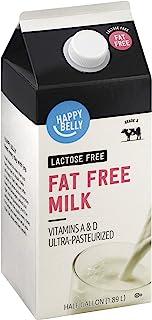 Amazon Brand - Happy Belly Fat Free Milk, Lactose Free, Ultra-Pasteurized, Kosher, Half Gallon, 64 Fl. Oz
