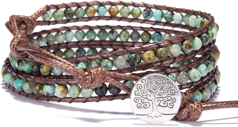 Bonnie 3 Leather Wraps Bracelet 4mm Gemstone Beaded Handmade Tree of Life Bangle