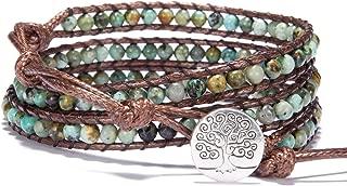 3 Leather Wraps Bracelet 4mm Gemstone Beaded Handmade Tree of Life Bangle