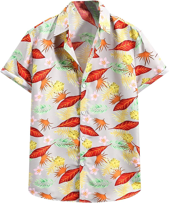 Men's Hawaiian Shirts Short Sleeves Printed Button Down Shirt Summer Casual Relaxed-Fit Aloha Beach Tops
