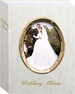 """Pioneer Photo Albums WFM-46/GT 100-Pocket Moire Cover Album with Goldtone Oval Frame and """"Wedding Album"""" Text for 4 by 6-I..."""