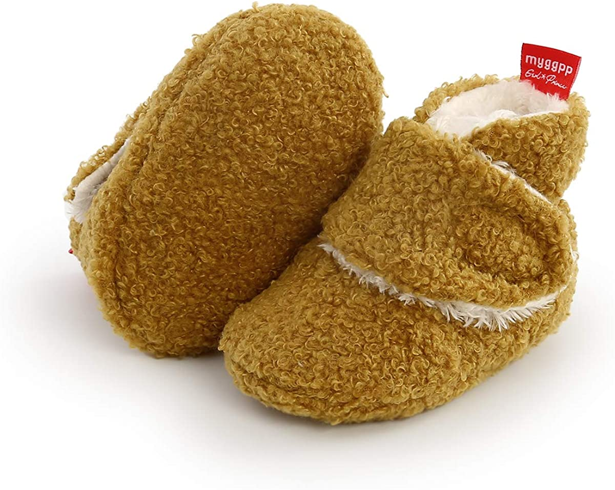 PanGa Newborn Baby Boys Girls Cozy Cotton Booties Sock with Grippers Stay On Slipper Socks Infant Toddler Crib Winter Fleece Bootie Shoes