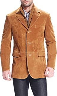 Men's Brett Suede Leather Blazer with Zip-Out Bib (Regular & Tall)