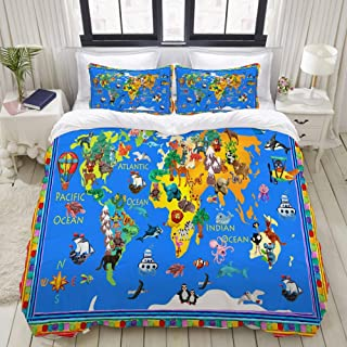 """Mokale Bedding Duvet Cover 3 Piece Set - Animals World Map - Decorative Hotel Dorm Comforter Cover with 2 Pollow Shams - King 104""""X90"""""""