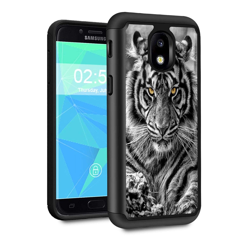 Galaxy J7 2018 case,J7 Aero/J7 Star/J7 Top/J7 Aura/J7 Crown/J7 Refine Case,Spsun Dual Layer Hybrid Hard Protector Cover Anti-Drop TPU Bumper for Samsung Galaxy J7 2018,Black and White Tiger