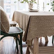 GUOCU Algodón Lino Mantel Rectangular Impermeable Antimanchas Color Sólido Mantel de Mesa Decoración del Hogar para Cocina Comedor Fiesta Caqui 135 * 210