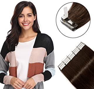 100g Tape in Hair Extensions Dark Brown 40 Pieces Rooted Tape on 100% Remy Human Hair 12``-24`` Double Side Tape Seamless ...