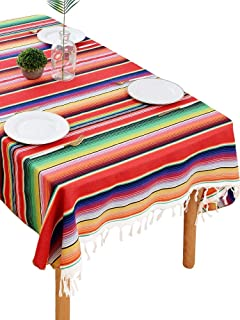 BOXAN Mexican Serape Blanket Tablecloth for Rustic Mexican Wedding Party Decorations, 59 x 84 inch Bright & Colorful Cotto...
