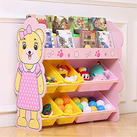 Ljleey-HO Toy storage rack Book And Toy Organizer For Organizing Toy Storage Baby Kids Dog Toys Baby Clothing Children Books  Color Pink  Size Free size