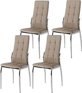 Miroytengo Pack 4 sillas Laci Estilo Moderno Color Capuchino Polipiel Salon Comedor 101x51x45
