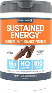 Designer Protein Sustained Energy, Chocolate Velvet, 1.5 Pound, Endurance Protein Powder