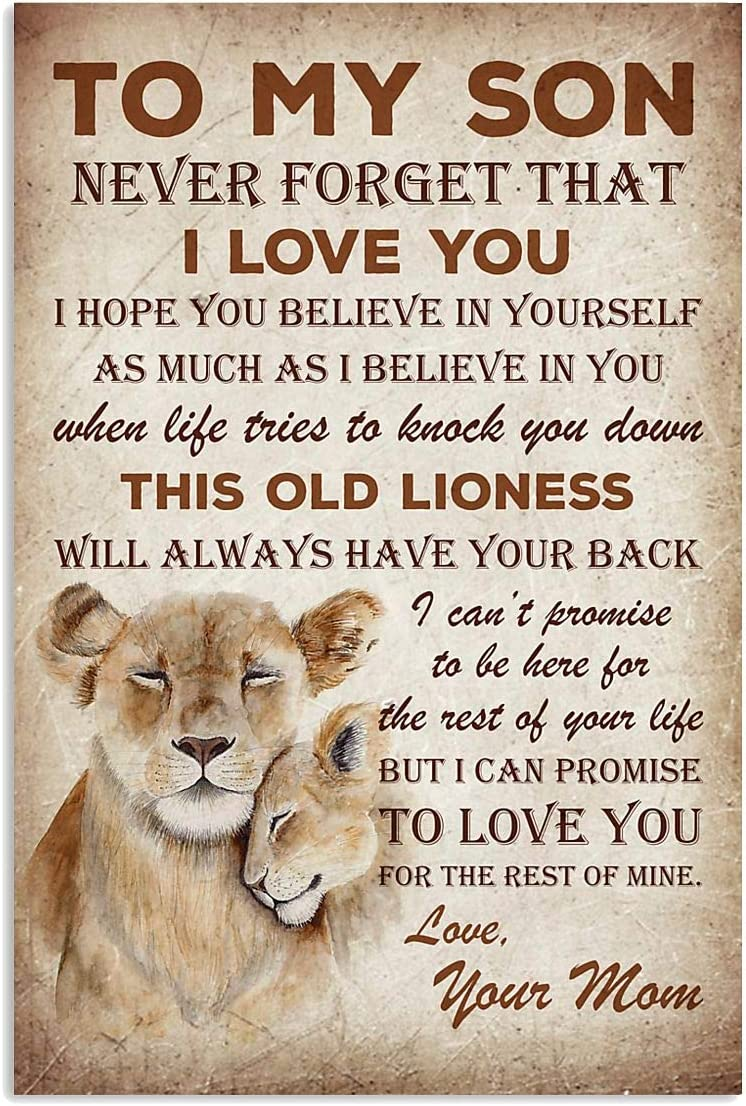 Lion Poster To Son From Dad Motivation Quote Art Print Perfect Gift For Son