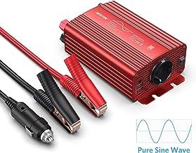 BESTEK Inversor Onda Pura 300W, Inversor de Corriente 12v a 220v para Coche con 2 USB Puertos 4,2A y 1 Toma de AC para iPhone iPad Tableta TV PSP