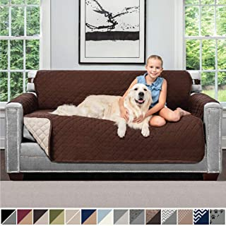 Sofa Shield Original Patent Pending Reversible Small Sofa Slipcover, 2 Inch Strap Hook, Seat Width Up to 62 Inch Washable Furniture Protector, Couch Slip Cover for Pets, Small Sofa, Chocolate Beige
