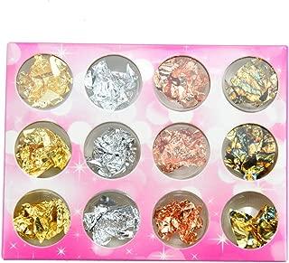 Pomeat 12 Boxes Gold Silver Copper Rainbow Foil Paillette Chip Nail Art Design Decoration