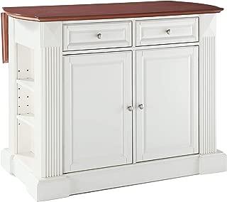 Crosley Furniture Drop Leaf Kitchen Island/Breakfast Bar, White