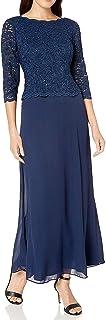 Alex Evenings Women's Long Mock Dress with Full Skirt (Petite and Regular Sizes)