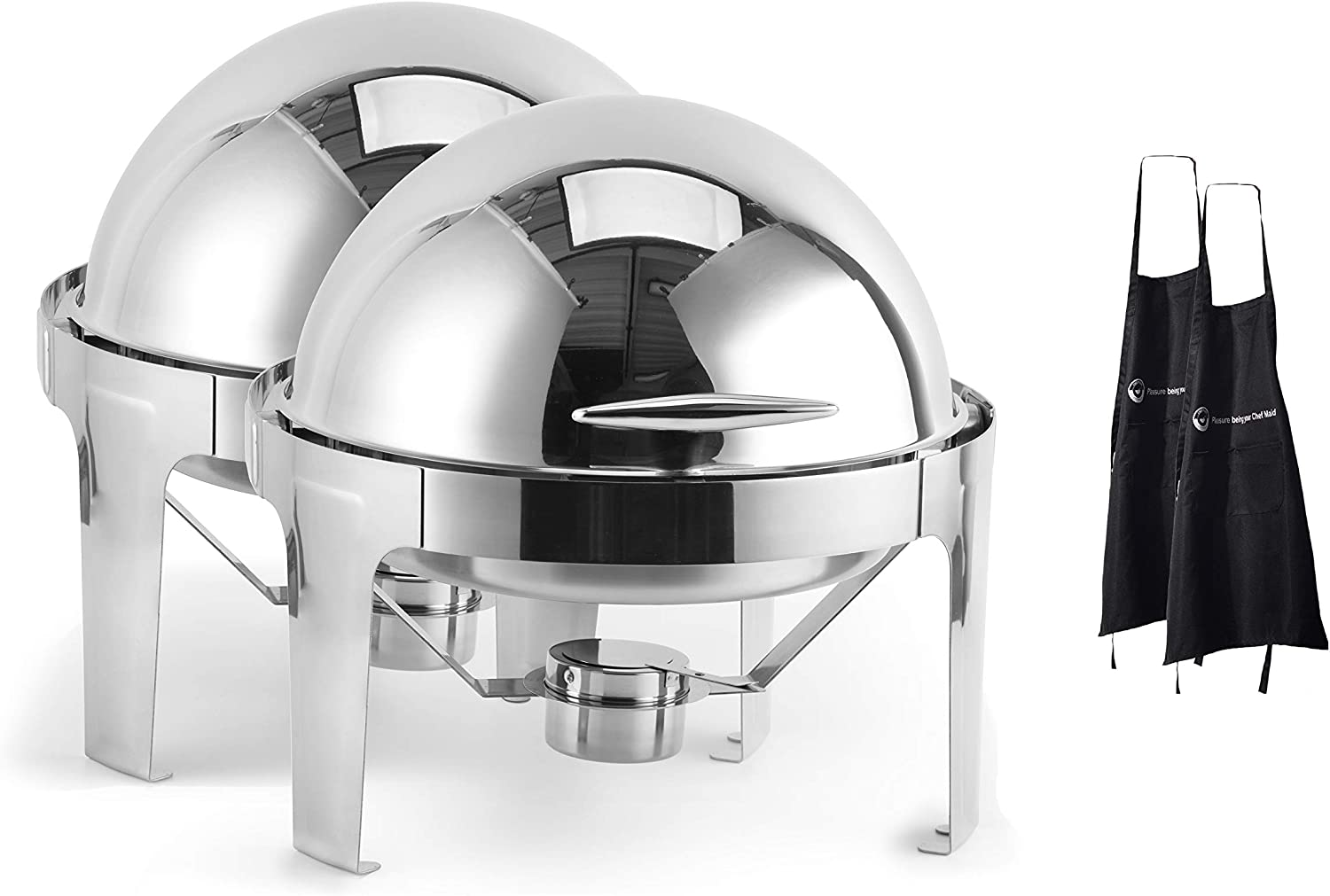2 Pack Inexpensive 6 QT Round Roll Steel Regular dealer Stainless Chafer Top Dish Chafing