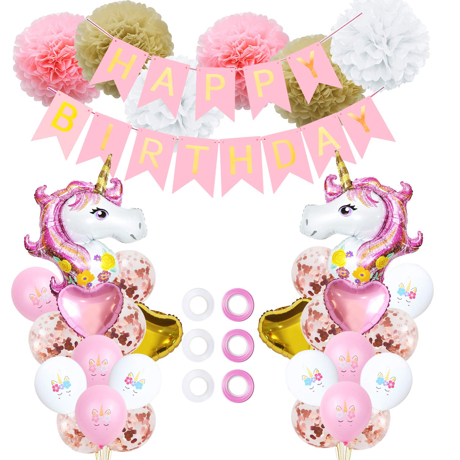Unicorn Balloons Birthday Party Decorations By Ll Fashion House 39 Pcs Unicorn Birthday Party Supply Kit