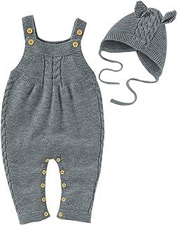 SH-RuiDu Baby Strick Strampler 2 Pcs Neugeborene Baby Overalls Einteiler Overall Bodysuit mit Hut für 3-24M Babys