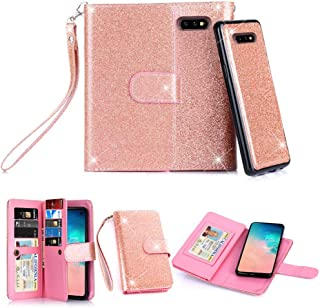 Galaxy S10e Case, 10 Card Slot - ID Slot, Button Phone Wallet Cover Folio PU Leather Case Cover with Detachable Magnetic Hard Case - Glitter Rose Gold