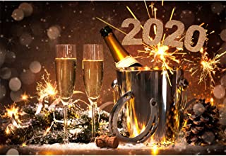 OFILA 2020 Happy New Year Backdrop Polyester Fabric 7x5ft New Year Party Photography Background Festival Celebration Horseshoe Lucky Year Champagne Toast Fireworks Photos New Year Events Props