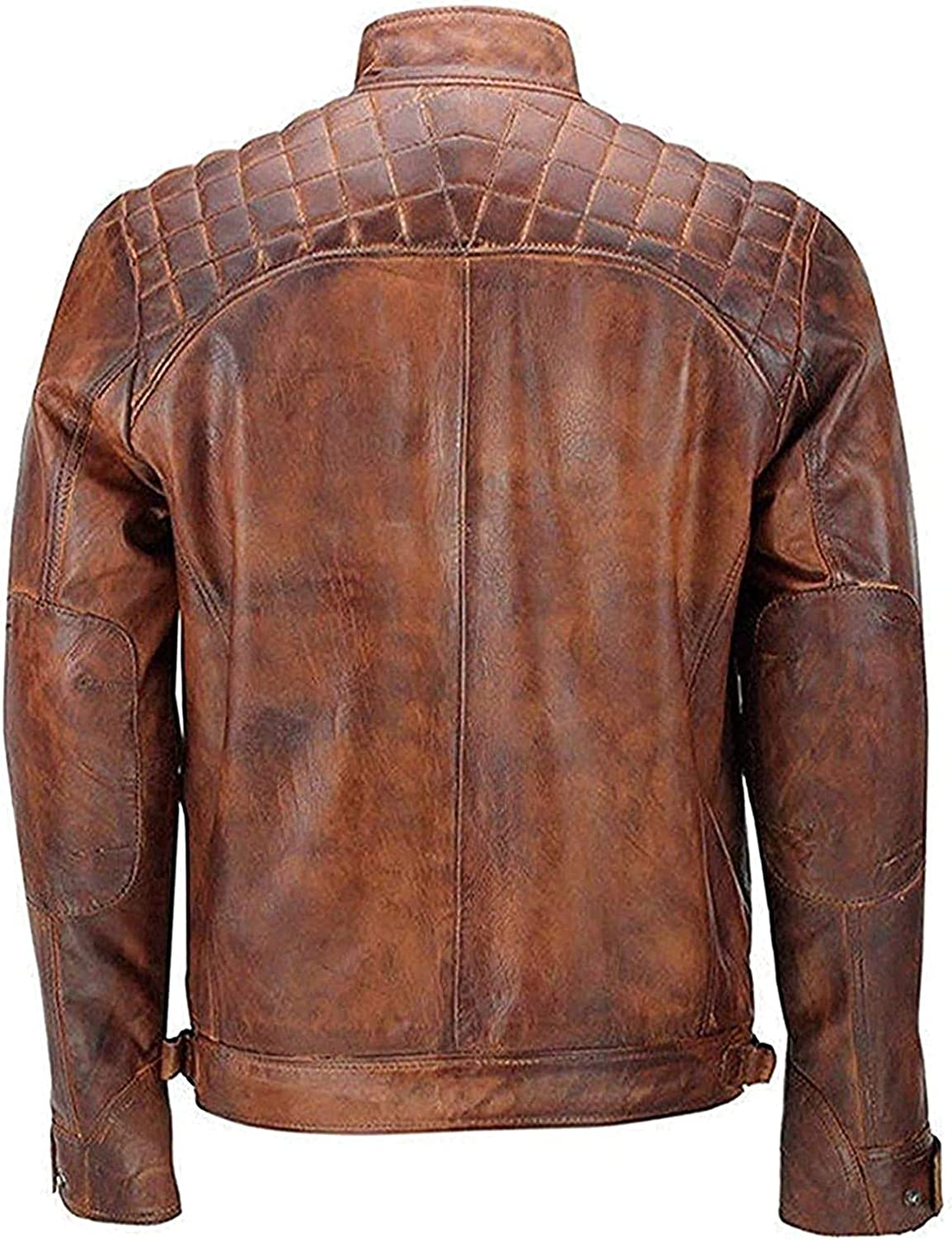 Brown Vintage Hi-Quality Motercycle Quilted Style Genuine Leather Jacket For Mens