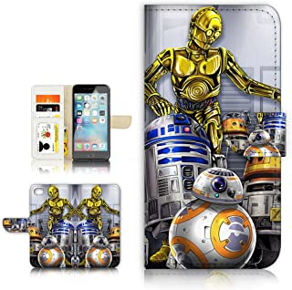 (For iPhone 5 5S/iPhone SE) Flip Wallet Style Case Cover, Shock Protection Design with Screen Protector - B31047 Starwars R2D2 BB8 C-3PO