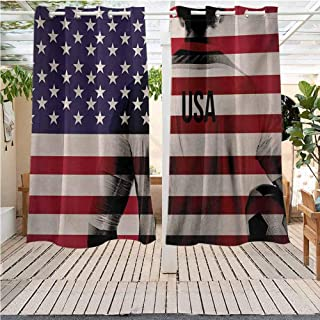 DONEECKL Soccer Extra Wide Outdoor Curtain Composite Double Exposure Image of A Soccer Player and American Flag USA Run Room Darkening Thermal W55 x L45 inch Beige Blue Red