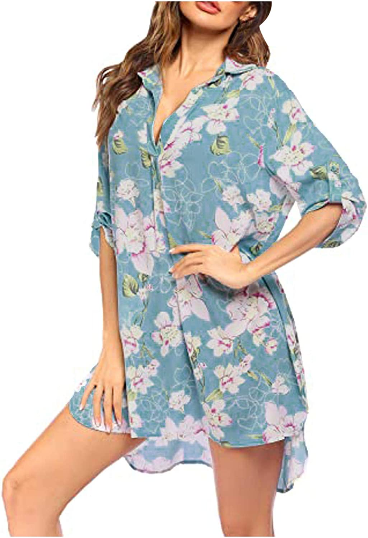 MYDANRAN Swimsuit Cover Ups for Women Geometric Floral Print V Neck Shirt Dress Loose Comfy Beach Bikini Dress