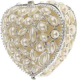 F Fityle Romantic Heart Rhinestone Pearls Box Storage Wedding Gift Magnet Clasp Box