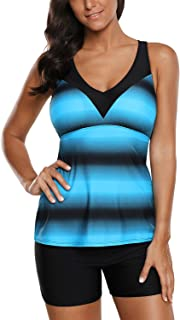 Grace's Secret Swimsuits for Women Criss Cross Two Piece Tankini Top with Boyshorts S-XXXL