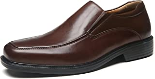 Wide Width Men's Leather Dress Shoes Slip On Square Toe...