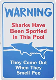 Monifith Funny Design Swimming Pool Warning Signs Sharks Have Been Spotted in This Pool Metal Tin Sign Decor Outdoor 8X12 Inch