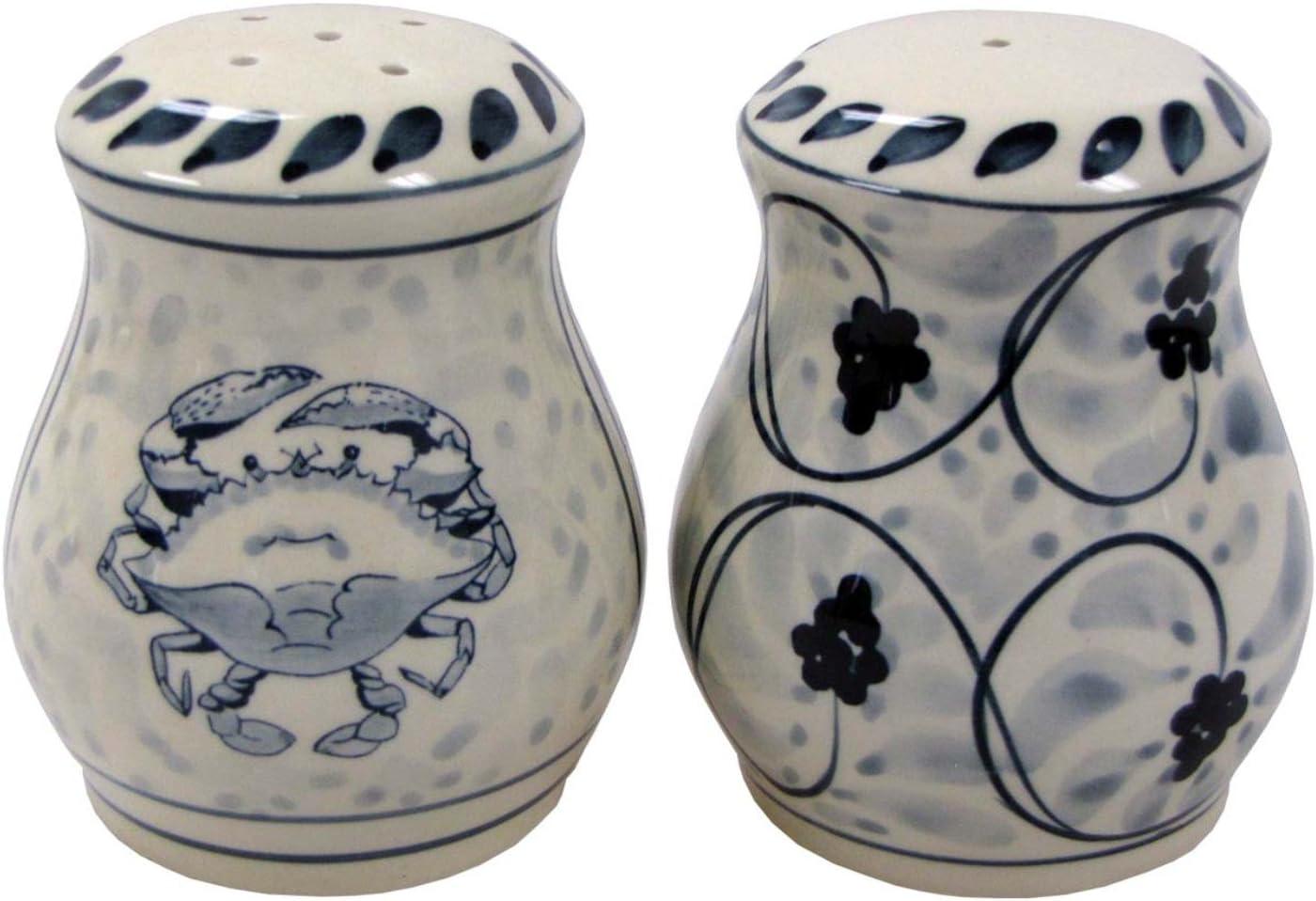 Blue Crab Cheap bargain Salt and Pepper Shaker Credence Stoneware Set