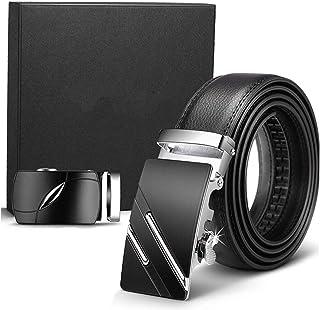 Cinturón Cuero Hombre, Cinturón Para Hombres, Cinturones Piel con Hebilla Automática - Traje Para Ropa Formal/Jeans,Sencillo y Clásico Perfecto Regalo