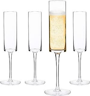 Champagne Flutes, Edge Champagne Glass Set of 4 - Modern & Elegant Gift for Women, Men, Wedding, Anniversary, Christmas, Birthday - 6oz, 100% Lead Free Crystal