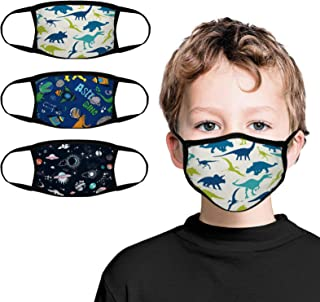 Kids Face Bandana 3-Pack with Colorful Cartoon Design Face Mask Bandanas Reusable Cloth Covering Set for Teens Boys Ages 5-13 (Dinosaur)
