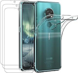 ivoler Fodral till Nokia 6.2/Nokia 7.2, stötdämpande stötskydd med 3-pack skärmskydd i härdat glas, klar smal mjuk TPU rep...
