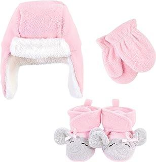 Hudson Baby Unisex czapka łapacz dziecka, zestaw rękawiczek i botków, różowy szary słoń, 12-18 miesięcy